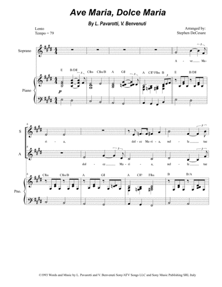 Ave Maria Dolce Maria Duet For Soprano And Alto Solo