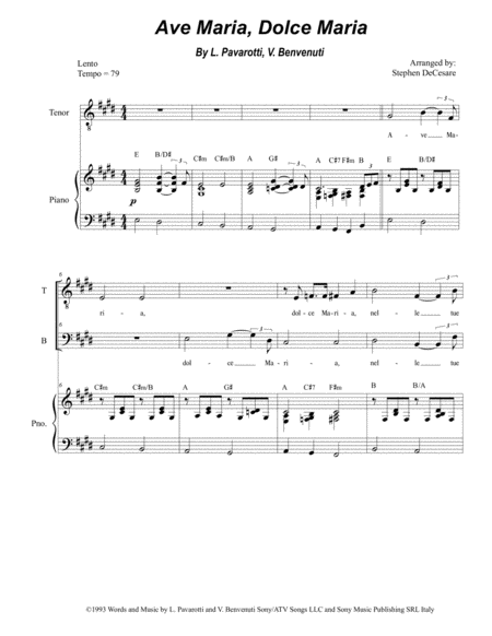 Ave Maria Dolce Maria Duet For Tenor And Bass Solo