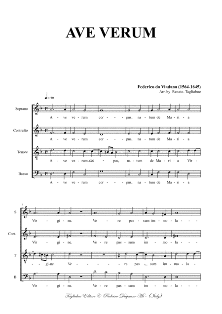 Ave Verum Da Viadana For Satb Choir