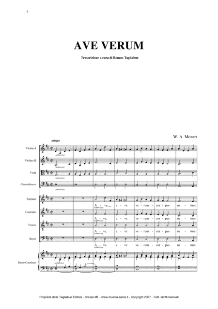 Ave Verum W A Mozart Full Choir And Orchestra With Separate Parts Of Choir Satb String Orchestra And Organ