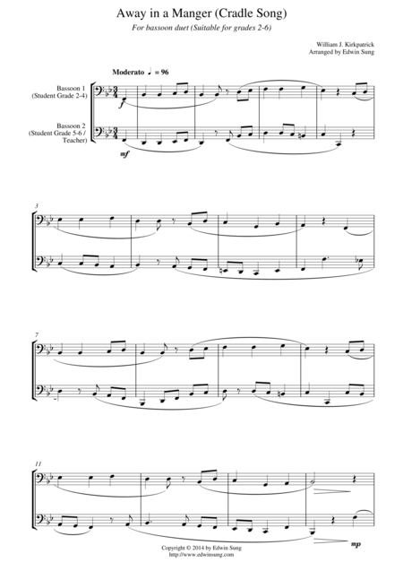 Away In A Manger Cradle Song For Bassoon Duet Suitable For Grades 2 6