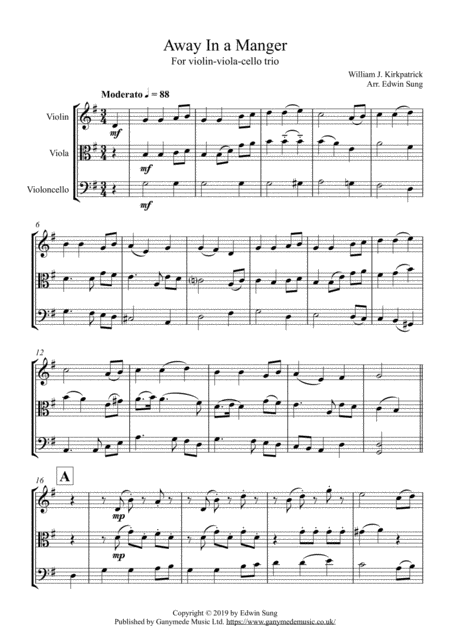 Away In A Manger For String Trio Violin Viola Cello Incl Part Scores