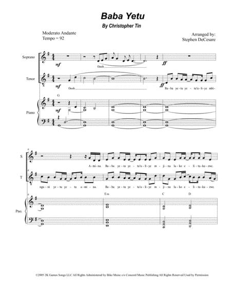 Baba Yetu For 2 Part Choir Soprano And Tenor