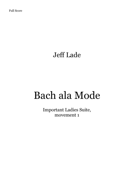 Bach Ala Mode