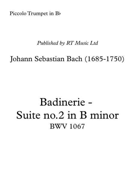 Bach Bwv1067 Badinerie From Suite In B Minor