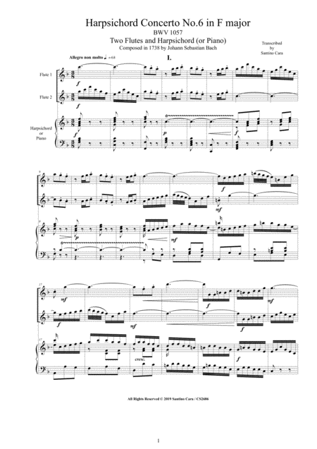 Bach Concerto No 6 In F Major Bwv 1057 For Two Flutes And Harpsichord Or Piano