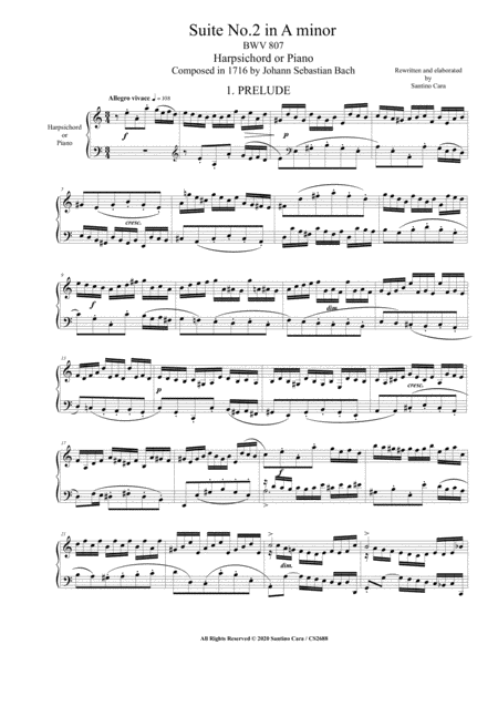 Bach English Suite No 2 In A Minor Bwv 807 For Harpsichord Or Piano