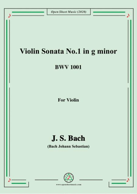 Bach Js Violin Sonata No 1 In G Minor Bwv 1001 For Violin