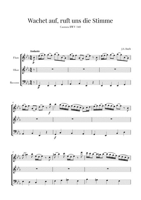 bach wachet auf ruft uns die stimme bwv 140 for flute tenor and trombone  free music sheet - musicsheets.org  music sheet library for all instruments