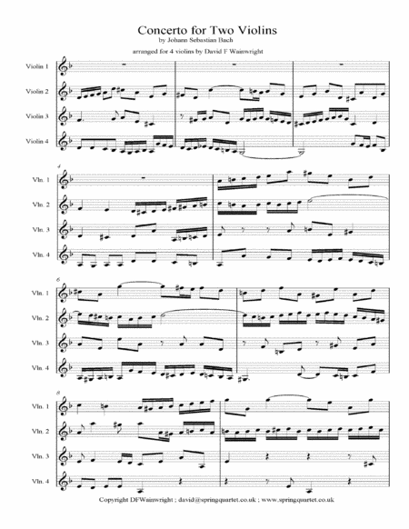 Bachs Concerto For Two Violins Arranged For Four Violins With Score Parts Mp3