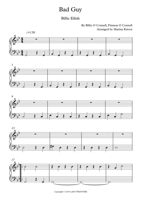 Bad Guy Easy Piano With Note Names In Easy To Read Format