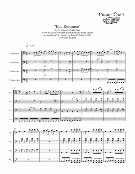 Bad Romance Cello Quartet Lady Gaga Arr Cellobat Recording Available