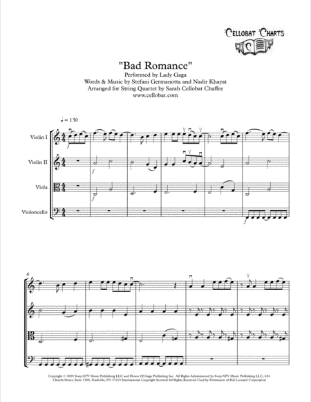 Bad Romance String Quartet Lady Gaga Arr Cellobat