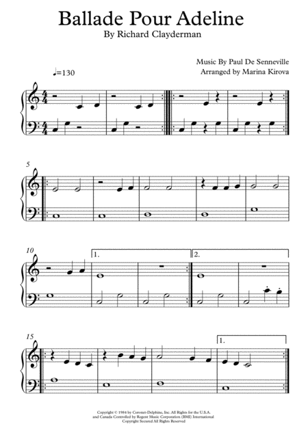 Ballade Pour Adeline Beginner Version In Easy To Read Format