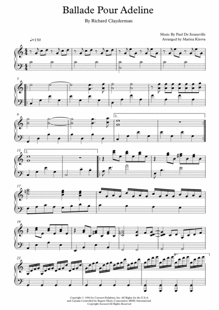 Ballade Pour Adeline Piano Easy To Read Format
