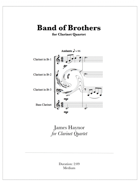 Band Of Brothers Opening Theme For Clarinet Quartet