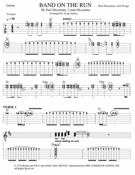 Band On The Run Guitar Tab W Synth Backing Vocals
