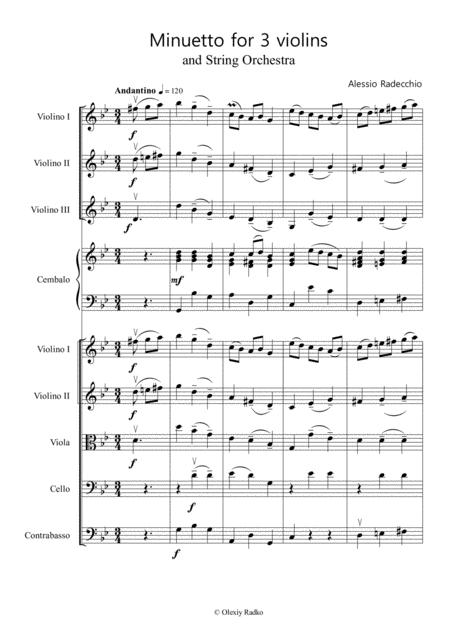 Baroque Menuet For School String Orchestra And 3 Violins
