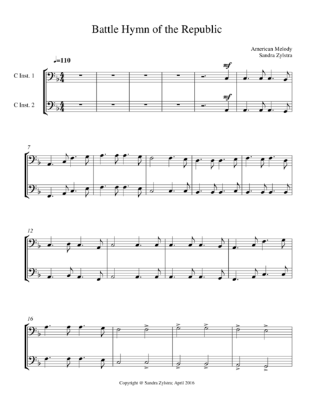 Battle Hymn Of The Republic Bass C Instrument Duet Parts Only