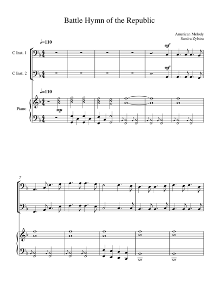 Battle Hymn Of The Republic Bass C Instrument Duet