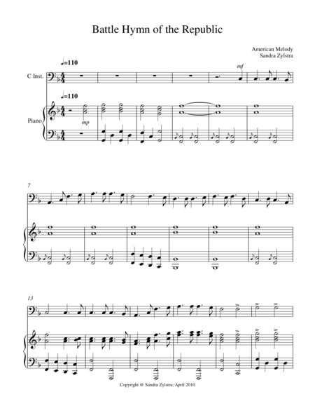 Battle Hymn Of The Republic Bass C Instrument Solo
