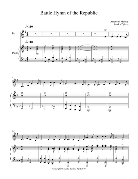 Battle Hymn Of The Republic Treble Bb Instrument Solo