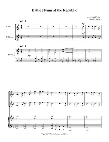 Battle Hymn Of The Republic Treble C Instrument Duet