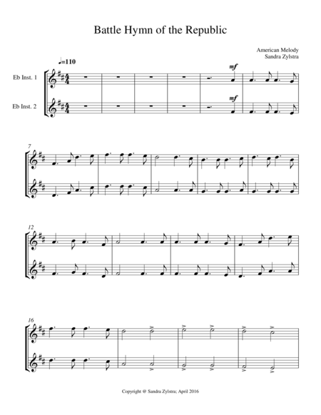 Battle Hymn Of The Republic Treble Eb Instrument Duet Parts Only