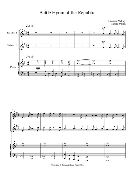 Battle Hymn Of The Republic Treble Eb Instrument Duet