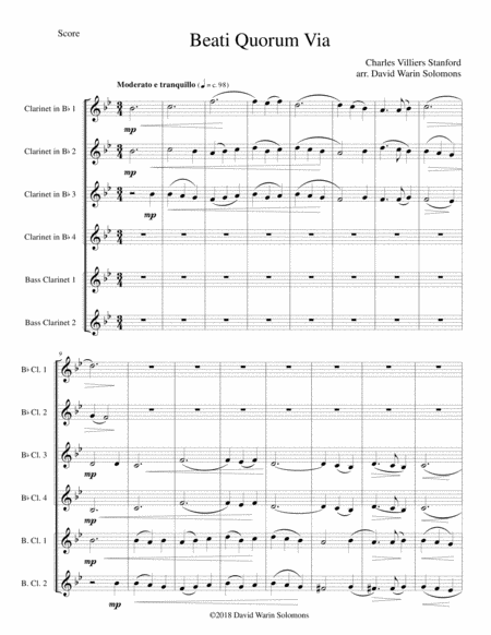 Beati Quorum Via For Clarinet Sextet 4 B Flats 2 Basses