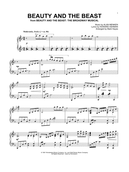 Beauty And The Beast Arr Mark Hayes