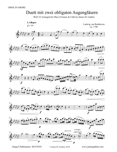 Beethoven Duet Woo 32 For Oboe D Amore Cello