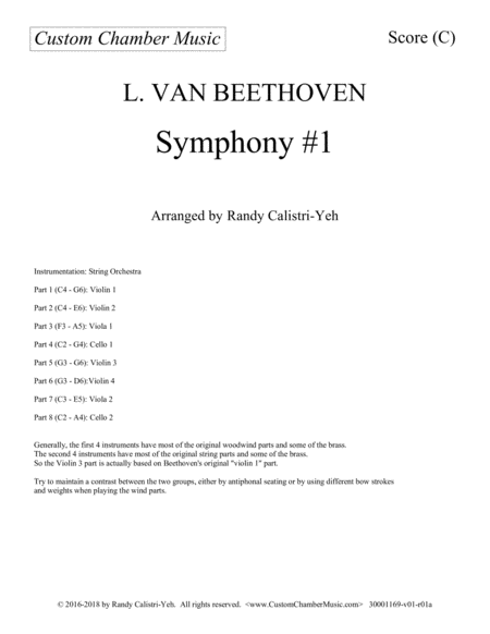Beethoven Symphony 1 For String Orchestra
