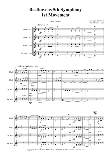 Beethovens 5th Symphony 1st Movement Horn Quartet Arrangement Thomas H Graf