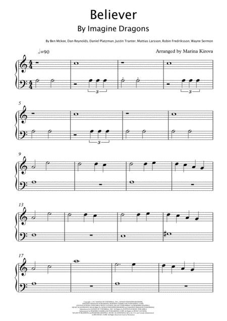Believer By Imagine Dragons Beginner Version Easy To Read Format