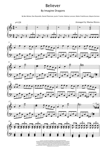 Believer By Imagine Dragons Intermediate Level Easy To Read Format