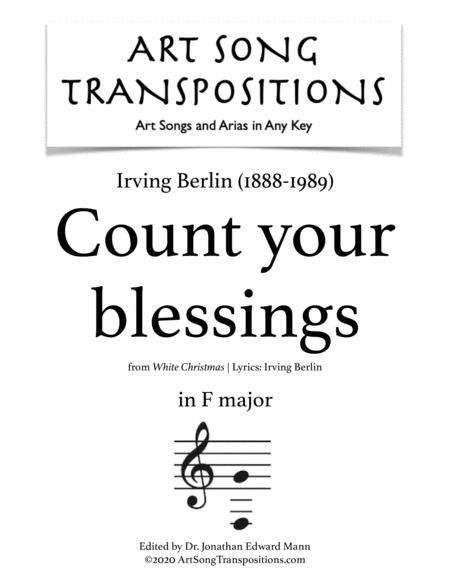 Berlin Count Your Blessings Transposed To F Major