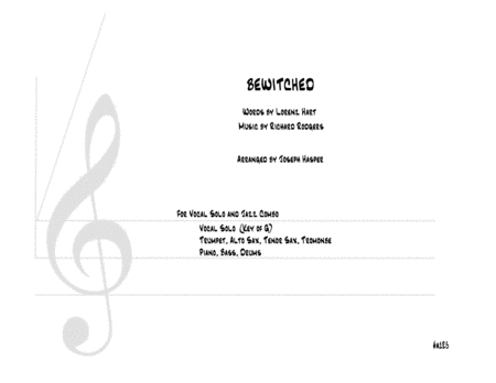 Bewitched Vocal With Alto Sax Tenor Sax Trumpet Trombone And Rhythm Section Key Of G