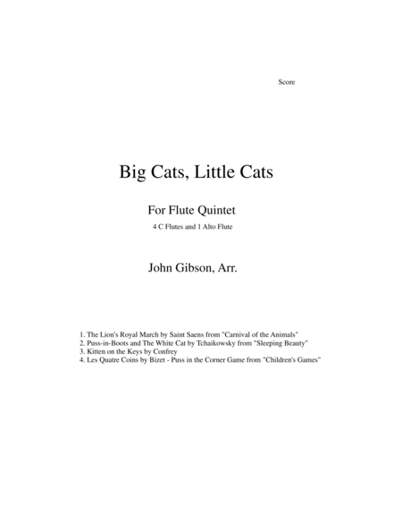Big Cats Little Cats Cat Music For Five Flutes
