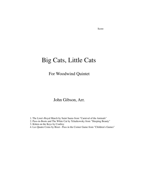 Big Cats Little Cats Cat Music For Woodwind Quintet