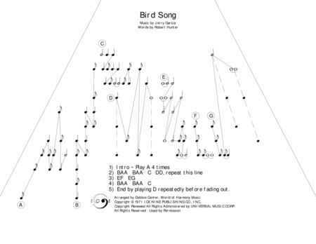 Bird Song With Lyrics By The Grateful Dead Arranged For Zither Lap Harp By Debbie Center