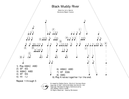 Black Muddy River By The Grateful Dead Arranged For Zither Lap Harp By Debbie Center