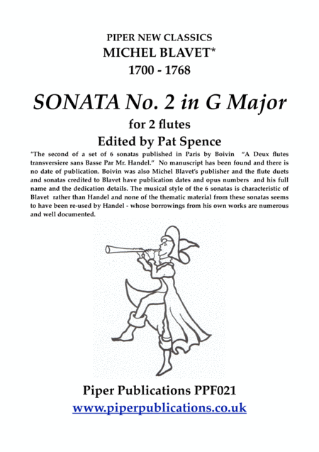 Blavet Sonata No 2 In G Major For 2 Flutes