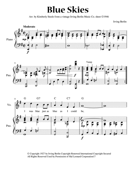 Blue Skies For Early Intermediate Piano Vintage Irving Berlin Music Company Arrangement