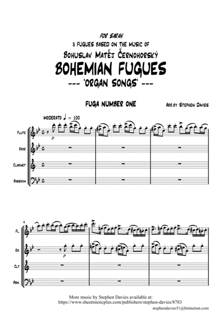Bohemian Fugues Based On The Music Of Cernohorsky For Wind Quartet Arr Stephen Davies