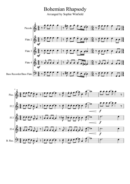 Bohemian Rhapsody Arranged For Flute Choir Piccolo 3 Flutes Bass Flute Recorder