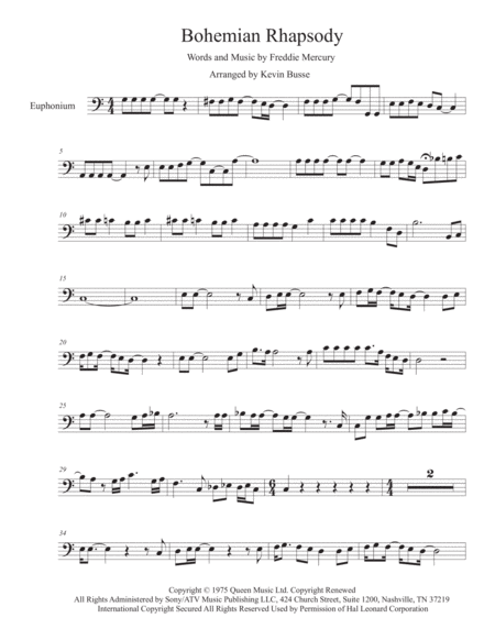 Bohemian Rhapsody Easy Key Of C Euphonium