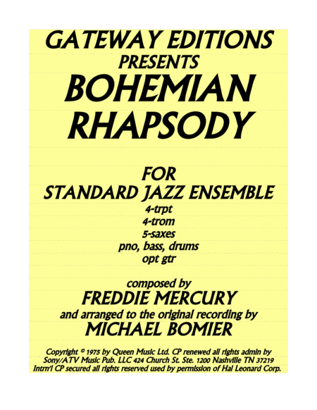 Bohemian Rhapsody For Standard Jazz Ensemble A Classic Cover Version