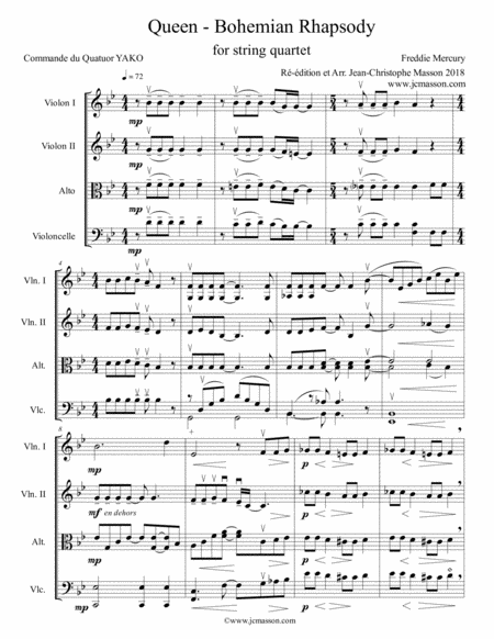 Bohemian Rhapsody For String Quartet Professional Version Score And Parts Jcm 2018
