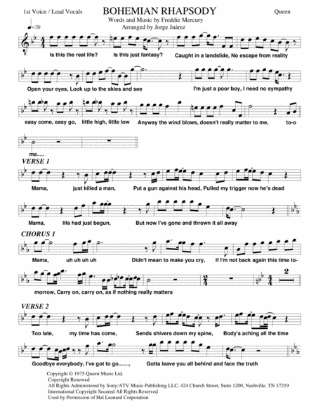 Bohemian Rhapsody Guitar Vocal Quartet Bass Drums